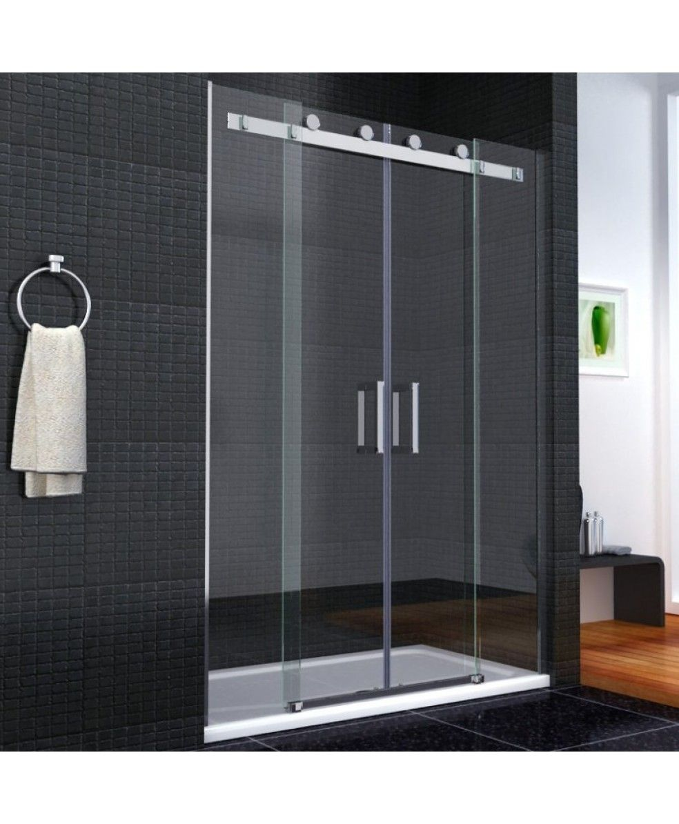 Aqua I8 Frameless Double Sliding Shower Door 1600mm X 1950mm High