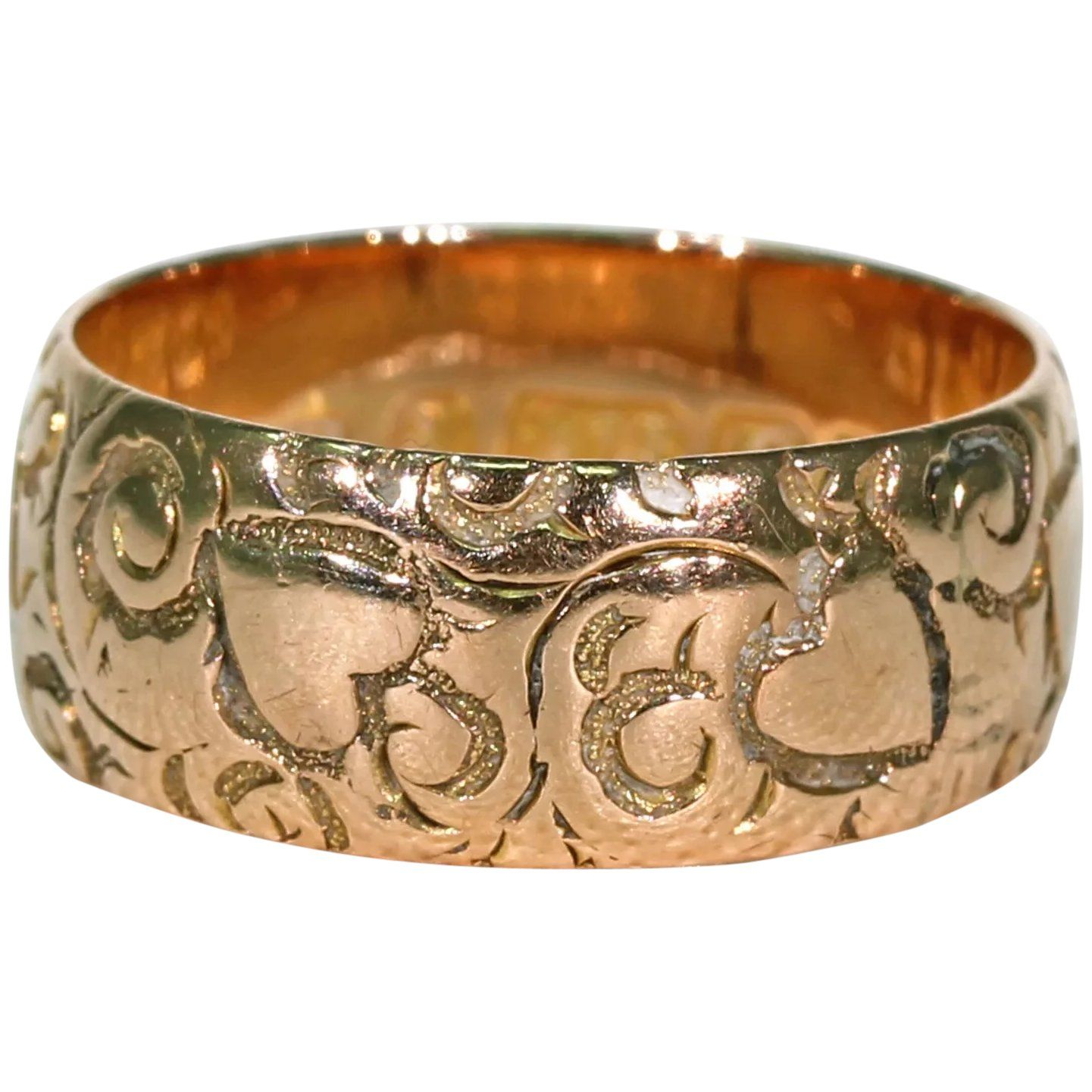 Hearts and Swirls Victorian Wedding Band Ring found at