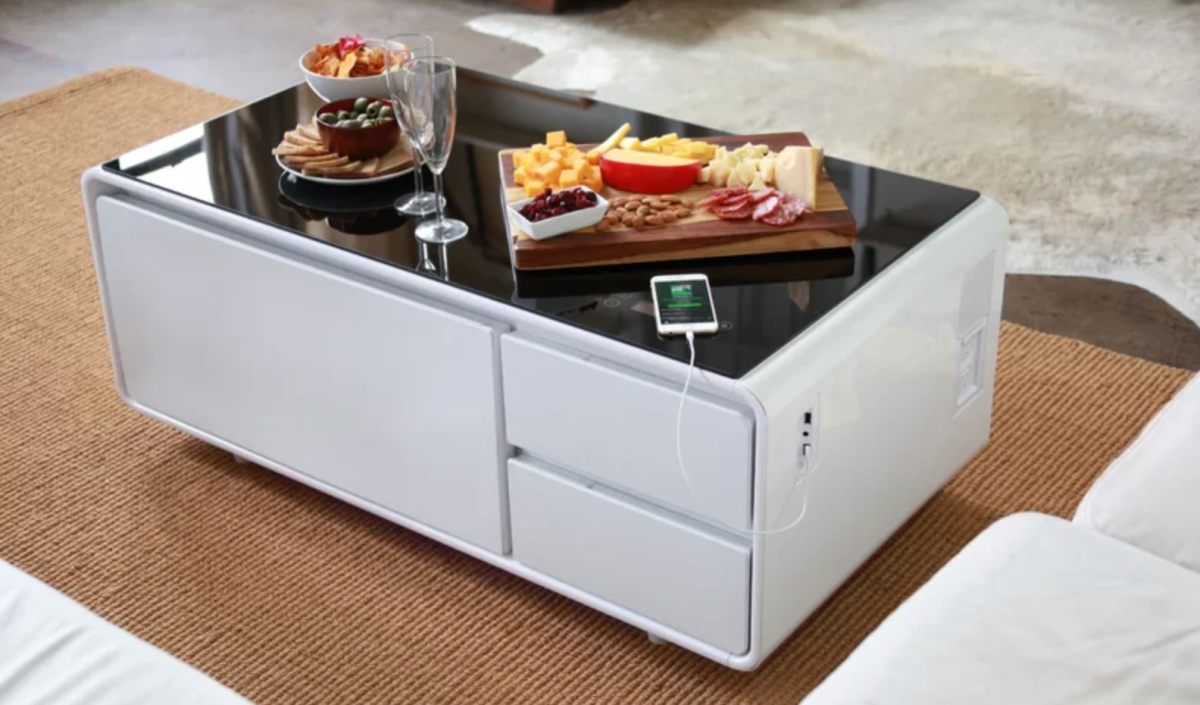 Epic Coffee Table That Chills Beer, Charges Phones, Plays