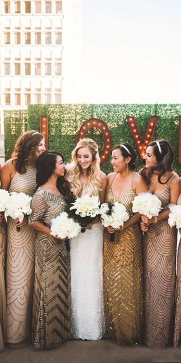 27 Full On Glitz Sequined Metallic Bridesmaid Dresses Bronze