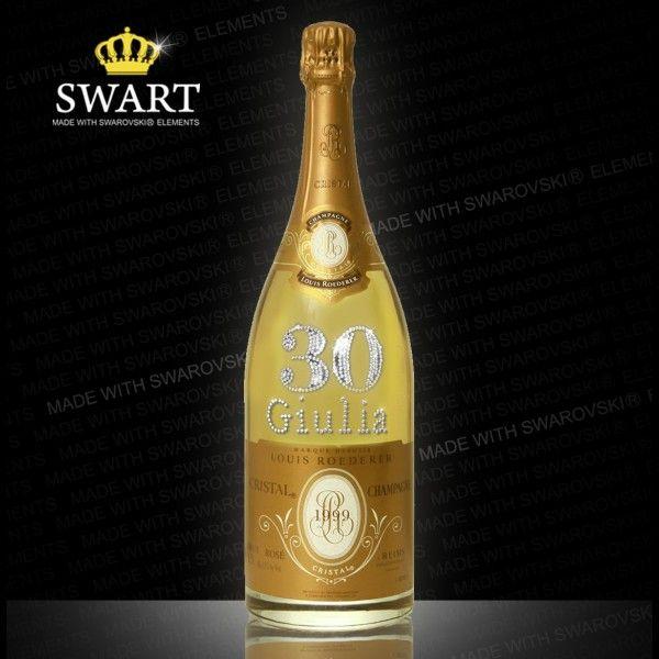 Champagne Cristal Magnum da 1,5 litri. Personalizzabile con età e nome in cristalli Swarovski.