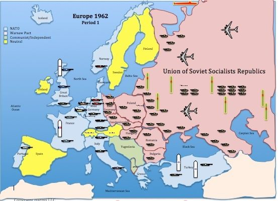 The European Map For Historysimulation Com S Cold War Lesson Plan Details The Imbalance In Conventional