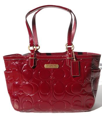 New Coach Gallery Embossed Patent Leather Tote Purse Bag Crimson Red F19462