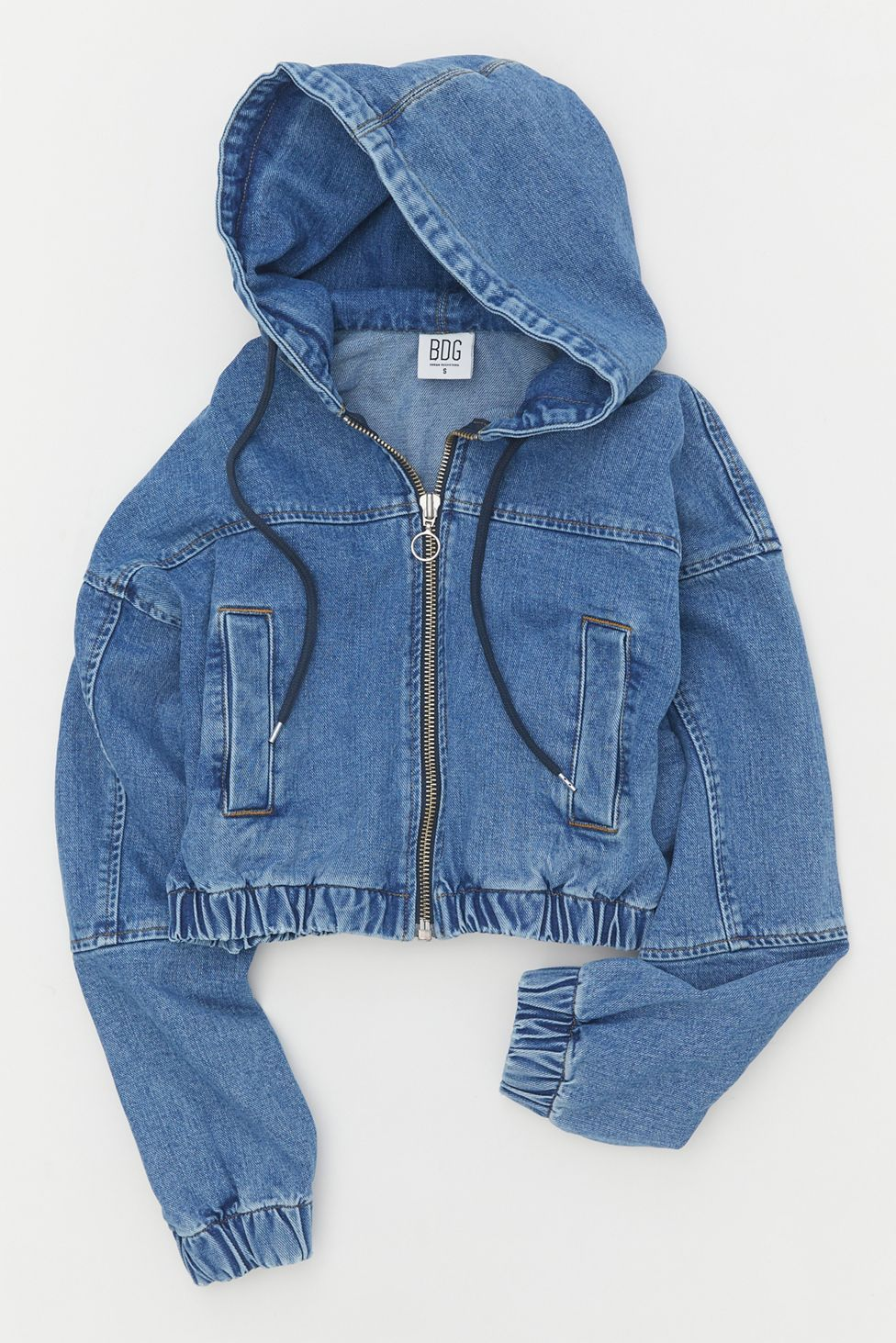 Bdg Denim Hooded Bomber Jacket Urban Outfitters Girls Denim Jacket Denim Jacket Women Bomber Jacket Outfit [ 1463 x 976 Pixel ]