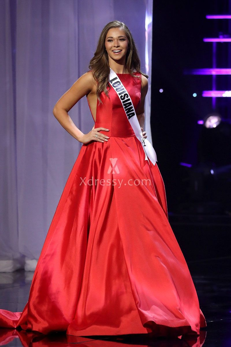 Ellie Picone Red Satin Bateau Neck Pageant Ball Gown Miss Teen USA ...