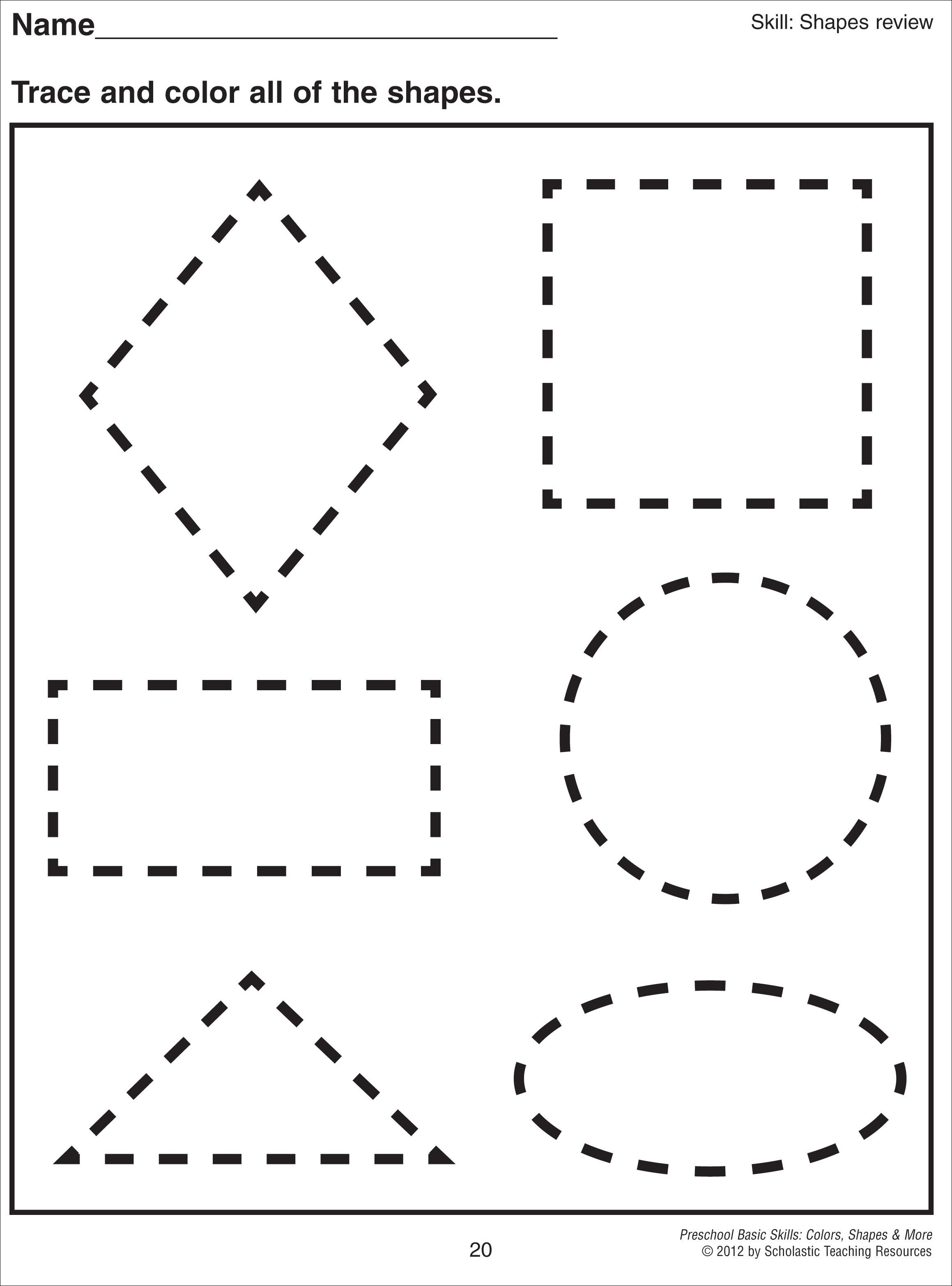 Math worksheet 1000 images about preschool shapes on for Shape tracing templates