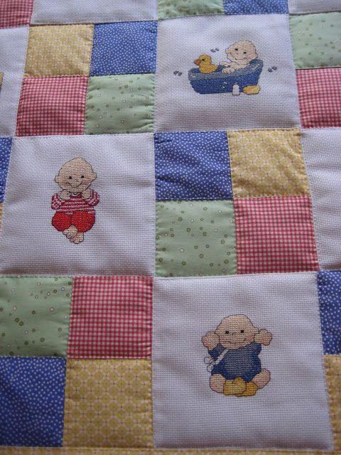 Saraibartesania colcha infantil de patchwork y bordados a for Colchas de punto de lana