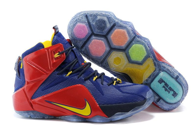 fdbbbfa2ccf Cheap Nike LeBron XII EP Dark Blue Red And Yellow Basketball Shoes on sale
