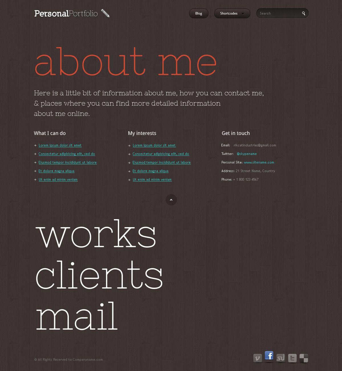 Personal Portfolio Creative Website Template Portfolio