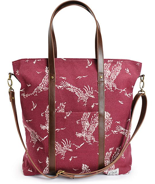 large leather bag with eagle print
