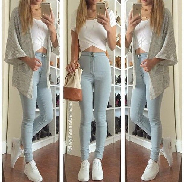 Light blue skinny jeans outfit pinterest
