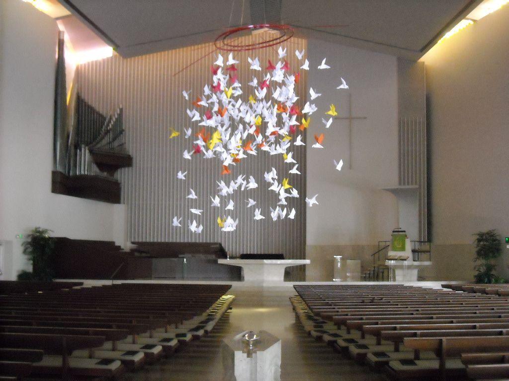 origami bird mobile in sanctuary | Church Renovation Ideas ...