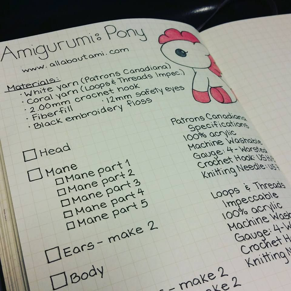 Knitting Project Journal : Bullet journal layout for keeping track of works in