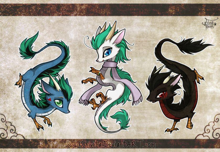 3 Chibi Dragons By Shivita On Deviantart Chibi Dragon Dragon Drawing Tiny Dragon