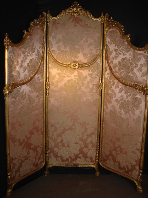 Louis XVI three leaf screen fine carved spiral mouldings pink silk
