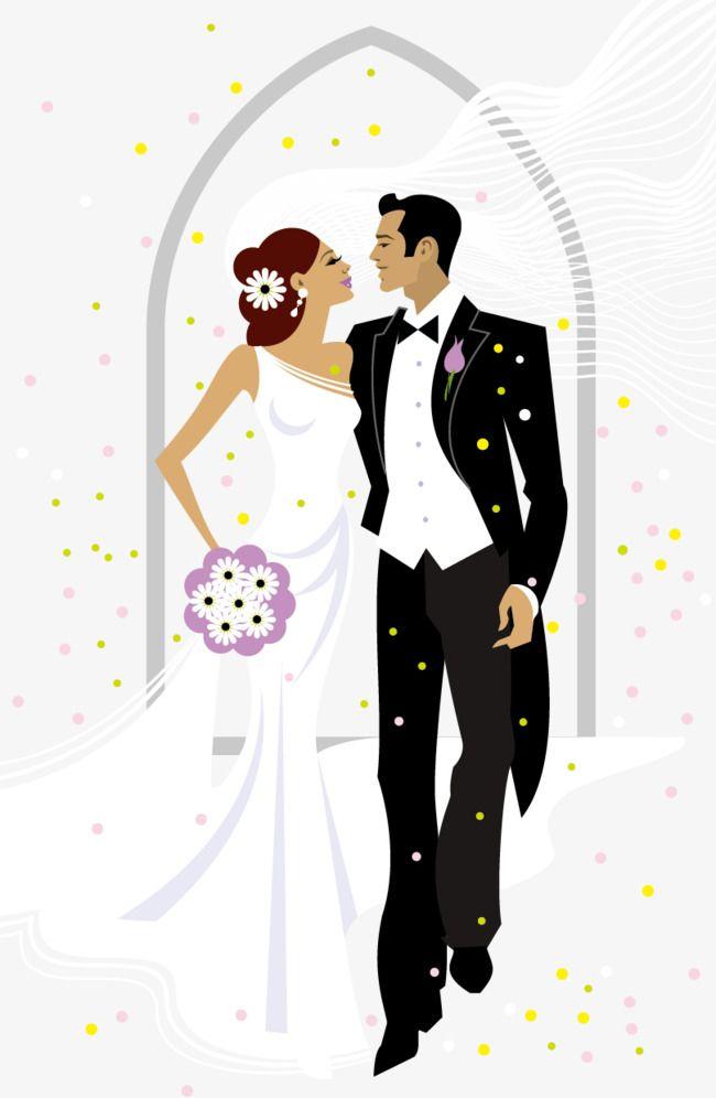 Sweet Bride And Groom Wedding Vector Illustration Png And Vector In 2020 Wedding Canvas Art Wedding Canvas Wedding Illustration