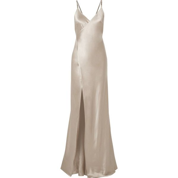 Michelle Mason Chain-embellished silk-charmeuse wrap gown (76,310 DOP) ❤ liked on Polyvore featuring dresses, gowns, michelle mason gown, wrap evening dress, brown evening gowns, wrap gown and tie dress