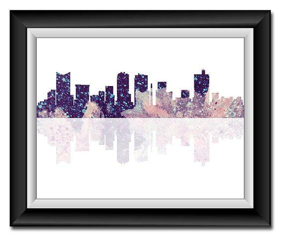 Fort Worth Texas City Skyline Blue Pink Purple by PrintsWallArt