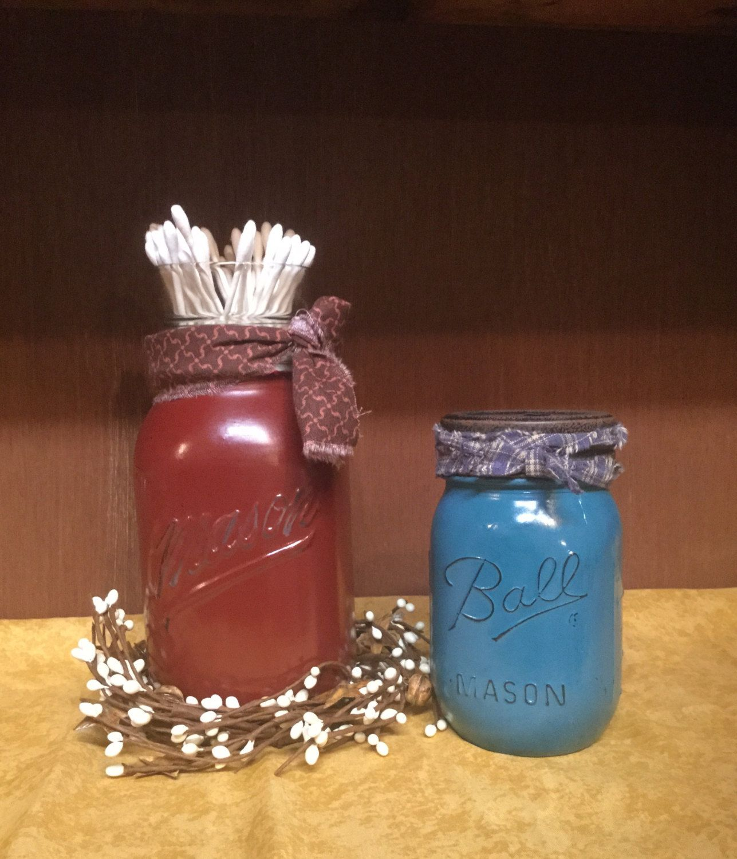 3 piece mason jar bathroom organizer set, toothbrush holder, q tips, rustic  decor