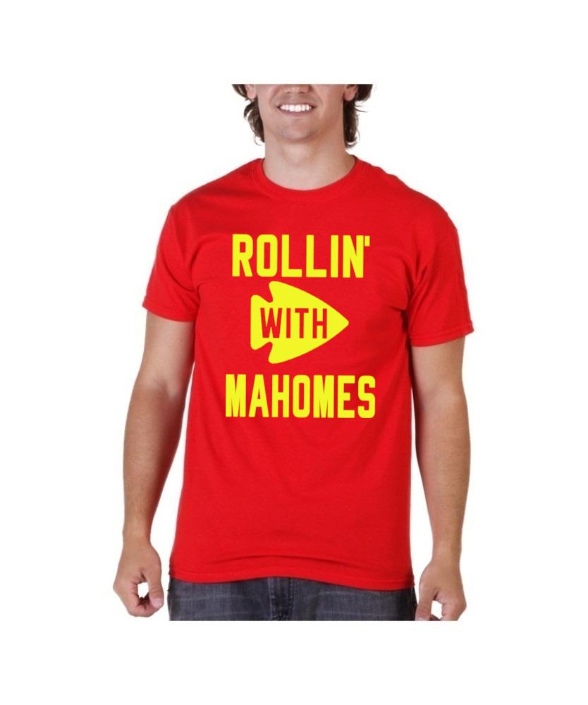 Patrick Mahomes Red Shirt Kansas City Chiefs Rollin  with Mahomes ... eb2d4a728