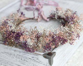 Dried Flower Crown White Ivory Flowers Wedding von NotJustWeeds