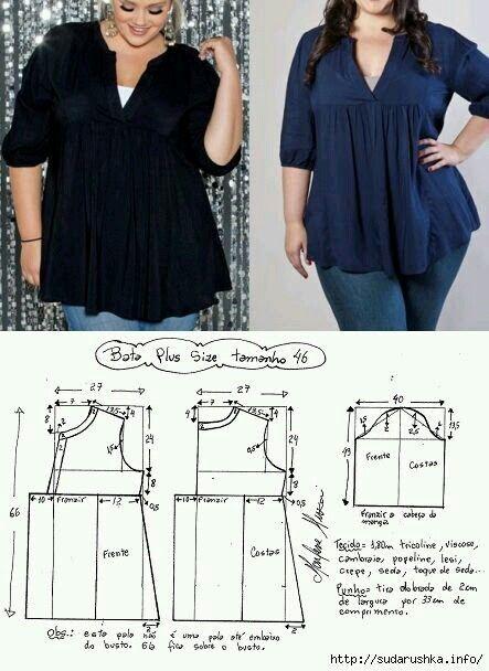 Pin von Normiux auf costura | Pinterest | Tuniken, Blusen und Muster