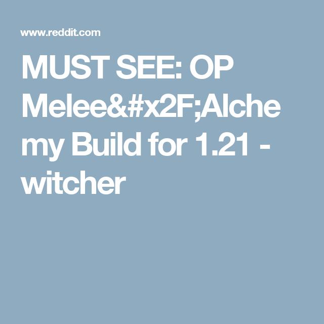 The Witcher 3 Alchemy Build Reddit | Pwner