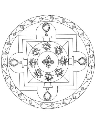 Mandalas tibetanos para colorear y meditar: Diseños   mandalas en