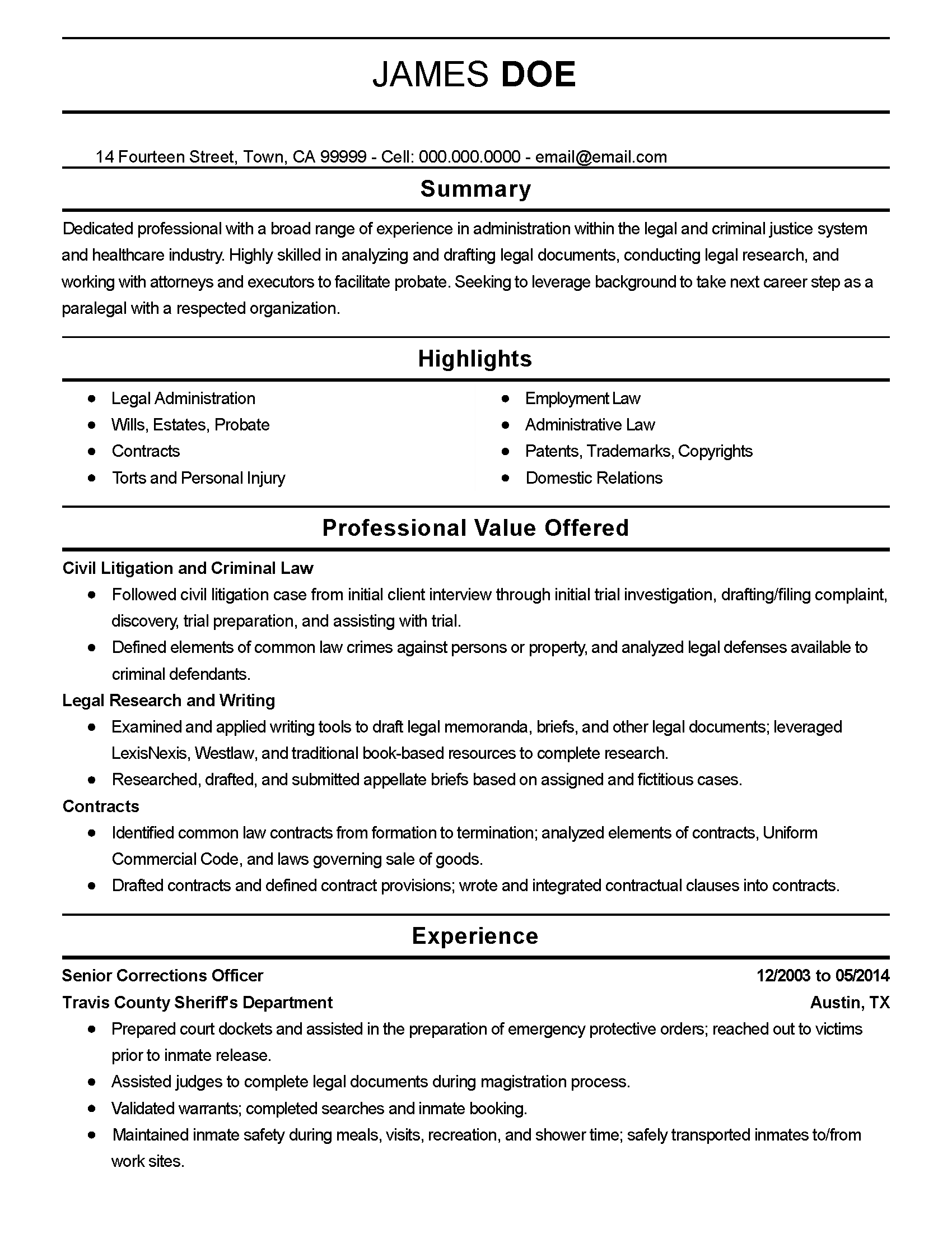 Professional Senior Corrections Officer Templates Showcase Your