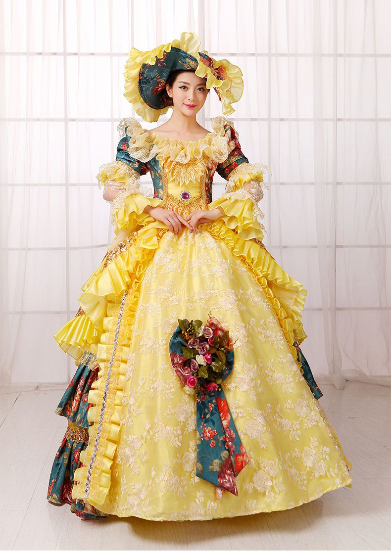 216af253a01f ... party costume lolita victorian fancy dress. yellow lace printing flower  ball gown with hat Medieval Renaissance Gown queen…