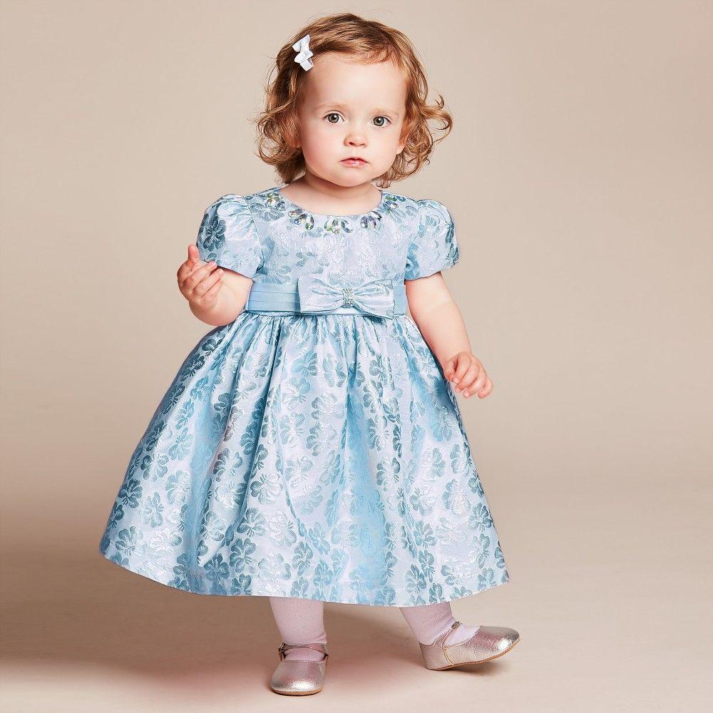 a385a0f3bf518 Romano Princess - Baby Girls Blue Brocade Dress with Diamanté