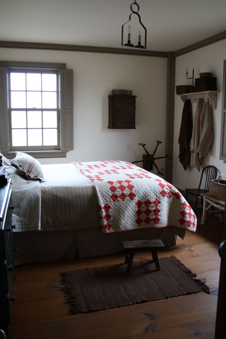 bedroomcolonial bedroom decor. Love The Antique Red And White Quilt In This Prim Bedroom Bedroomcolonial Decor G