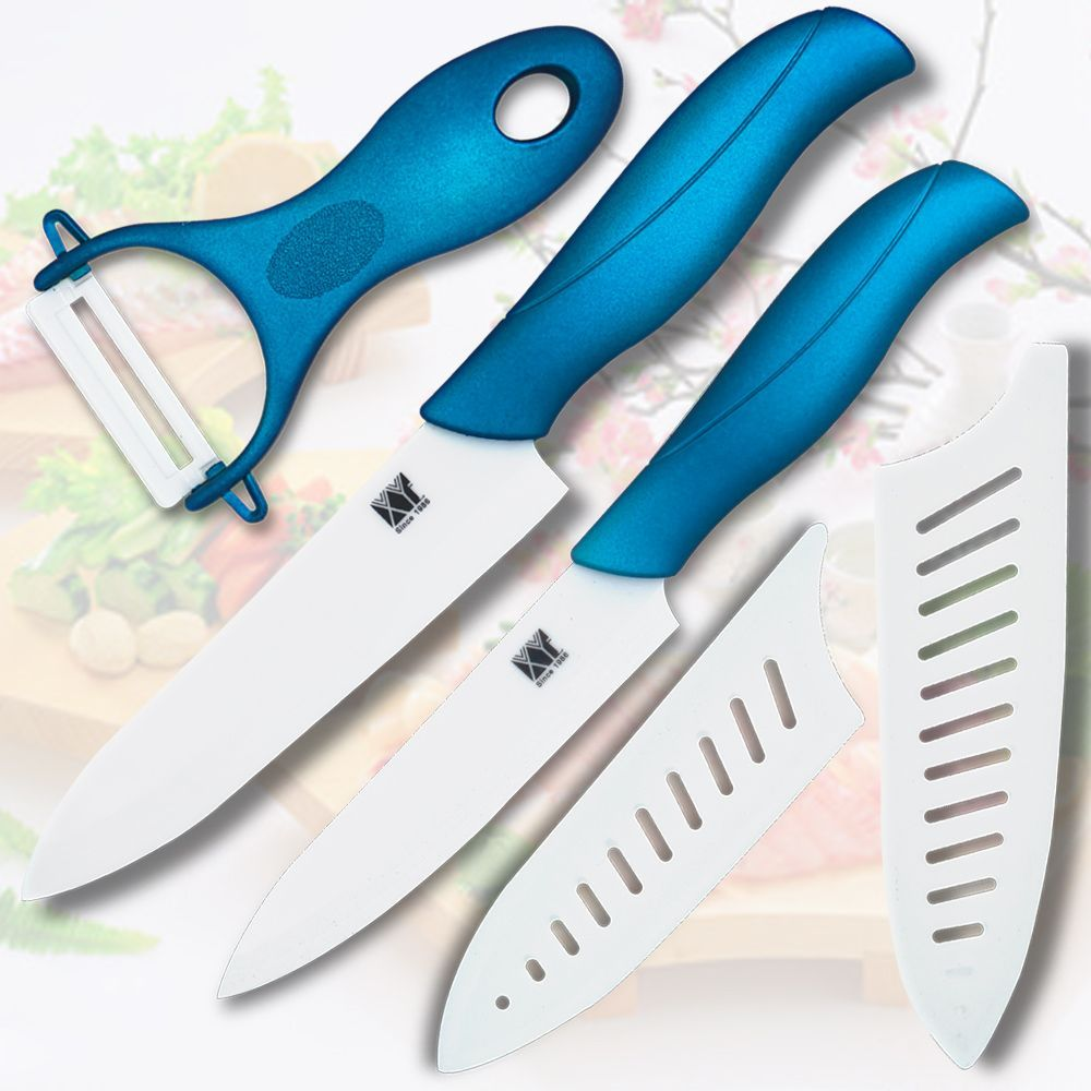 Ceramic knife 5 inch slicing knife 6 inch chef knife with one blue ...
