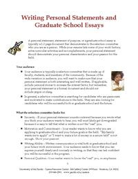 Writing Personal Statements And Graduate School Essays  Helpful