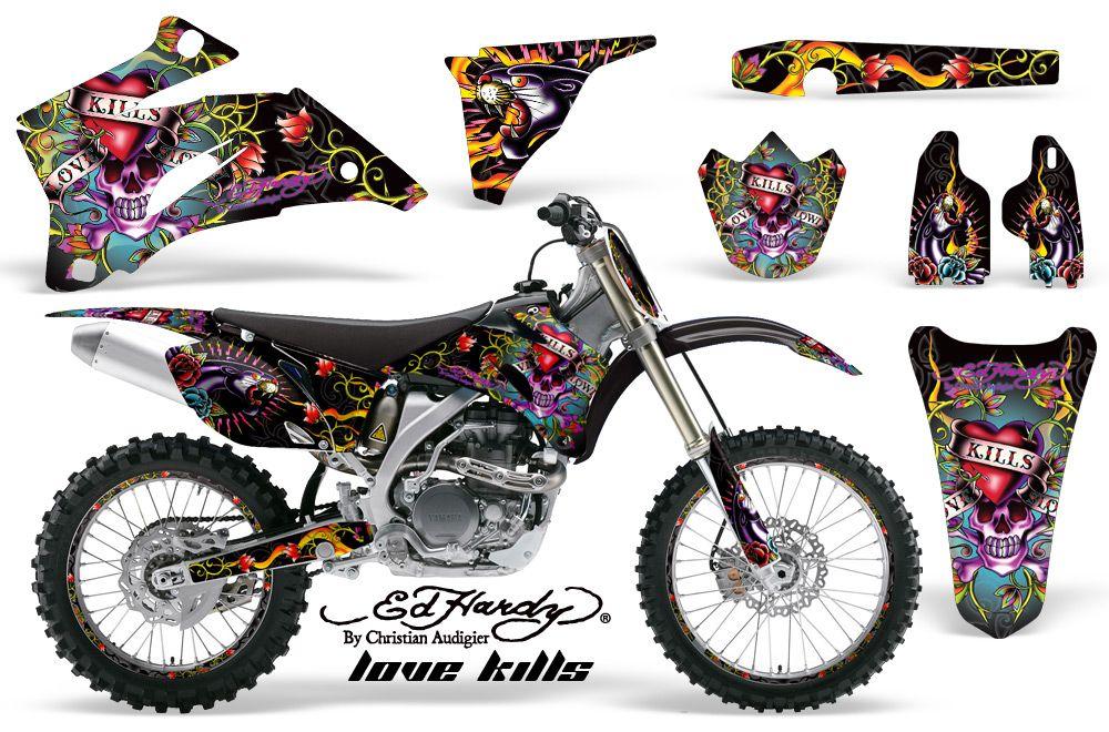 Yamaha YZ F F  Graphics Kit Ed Hardy Love Kills Black - Decal graphics for dirt bikes