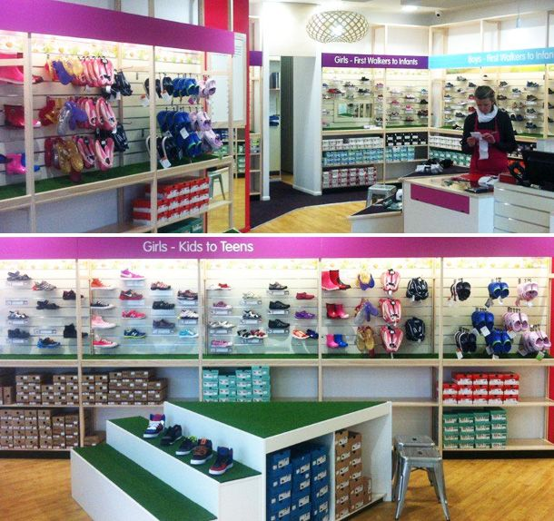 Lundia's retail solution for Future Feet, Newmarket, Auckland.  Future Feet are children's footwear specialists.