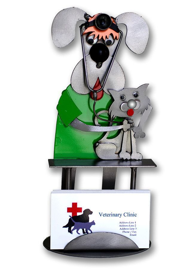 Veterinarian Dog Examining Cat Business Card Holder | Products ...