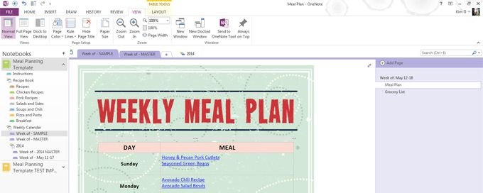 Meal Planning Template for Microsoft OneNote OneNote Pinterest - one note templates