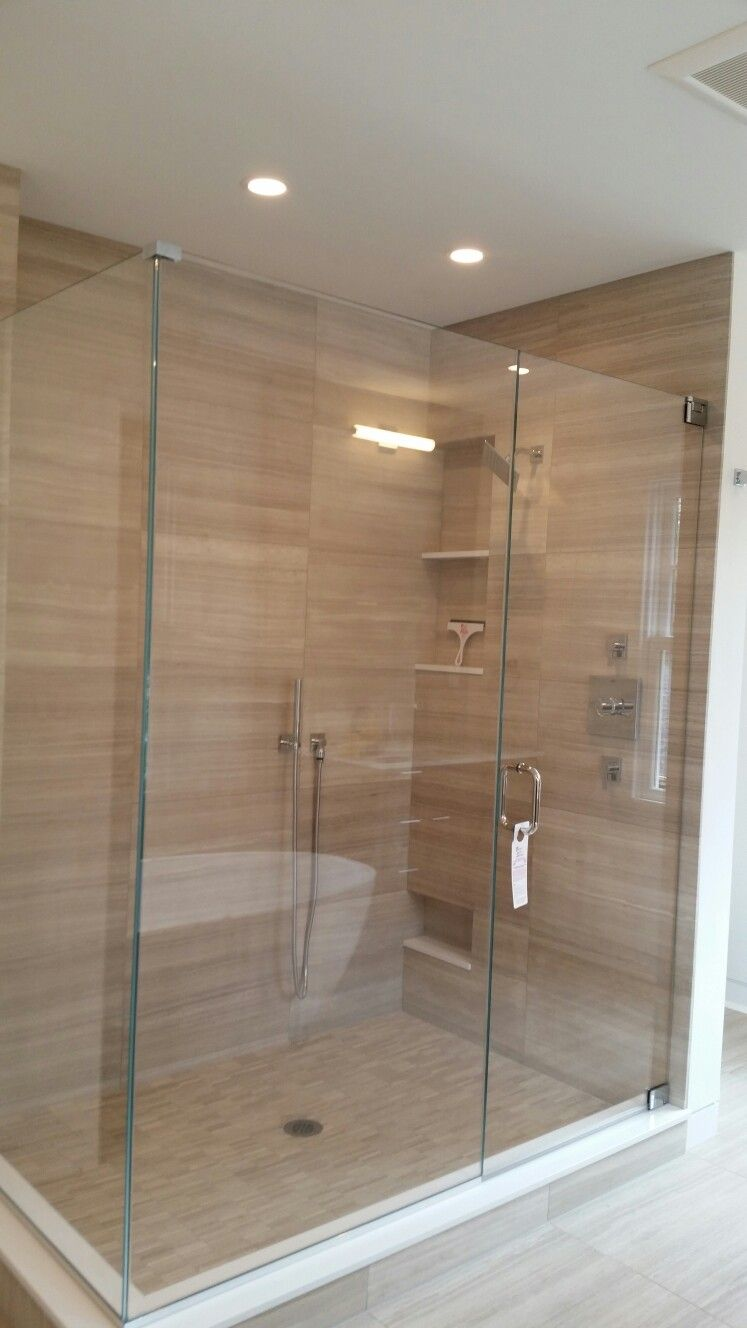 Frameless Shower Door With An Inline Panel And 90 Return Panel