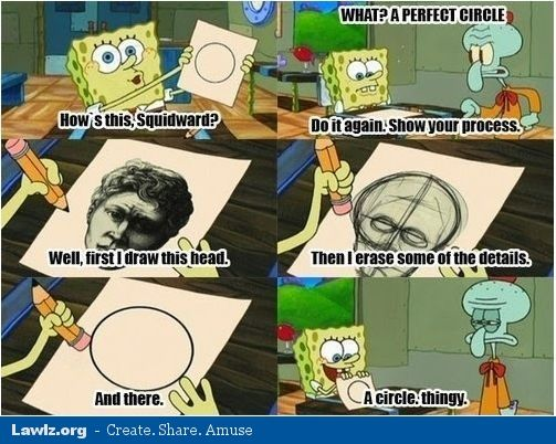 spongebob's way of drawing a circle | humor | Spongebob