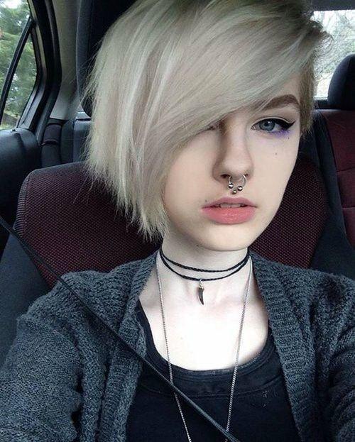 girls white hair septum piercing