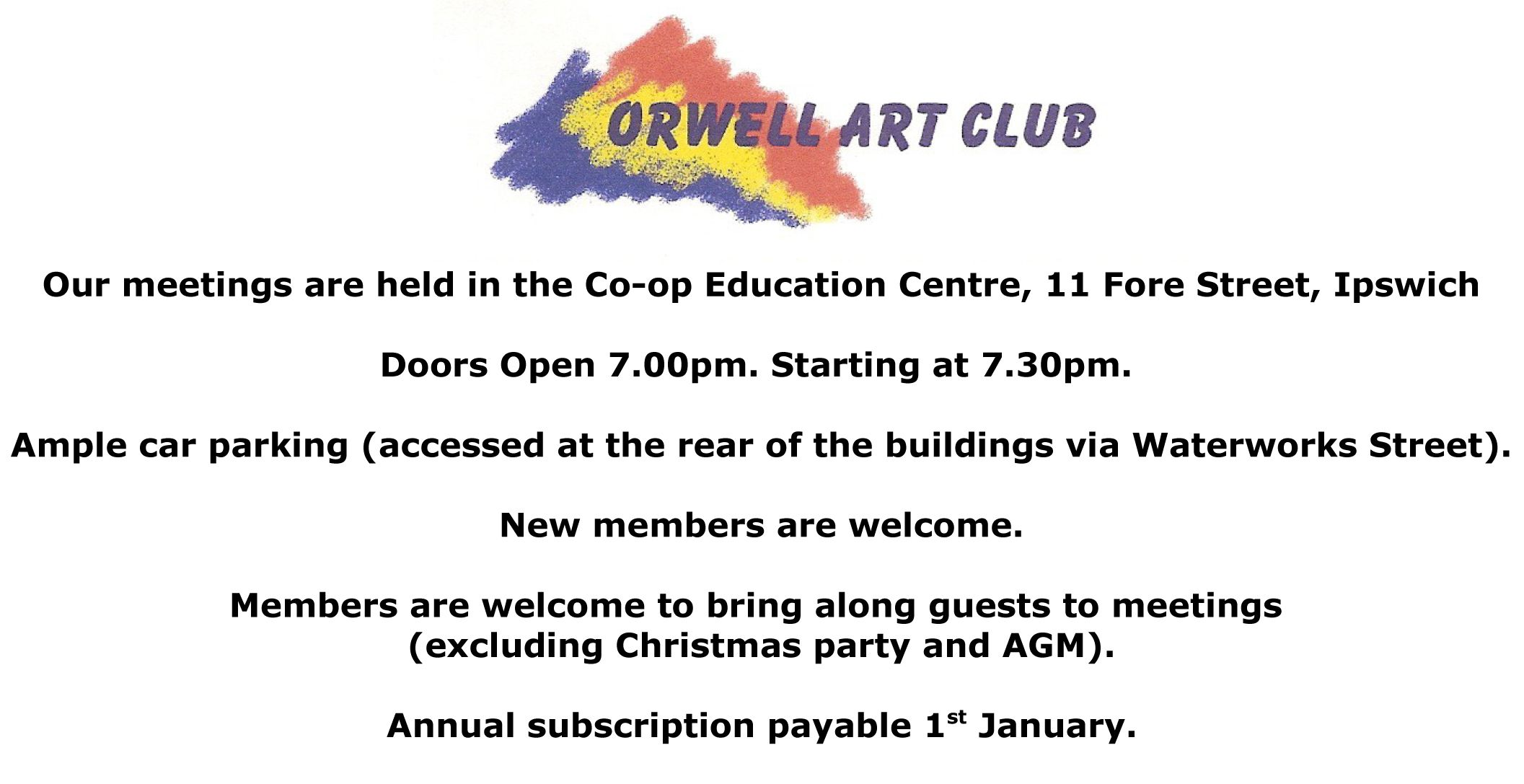 We are a friendly art club that meets in Ipswich. We welcome new members.