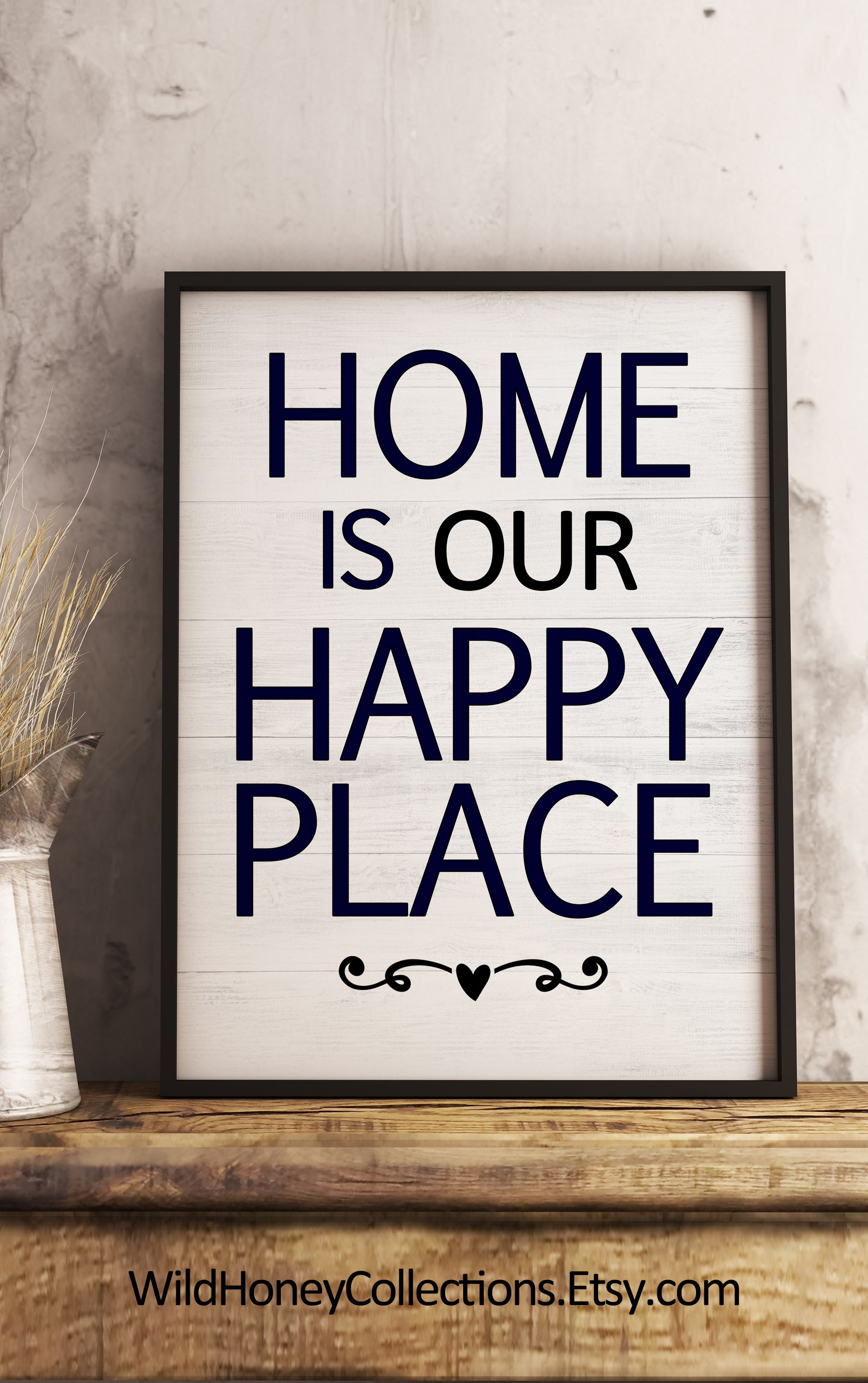Home Is My Happy Place Printable Wall Art Farmhouse Sign