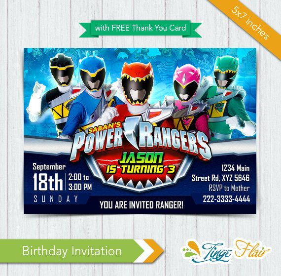 Power Rangers Invitation Power Rangers Dino Charge By Tingeflair