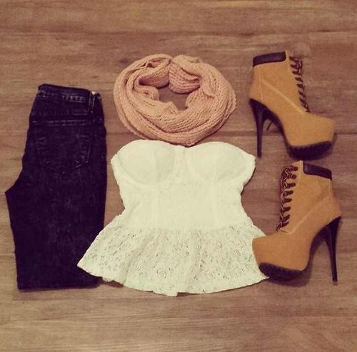 4ab40298ea9 Fall outfit! timberland high heel boots. Dark skinny jeans. White ...