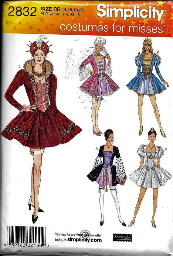 Simplicity 2832 ELIZABETHAN TUDOR Colonial QUEEN Sexy Costume 14-20 ...