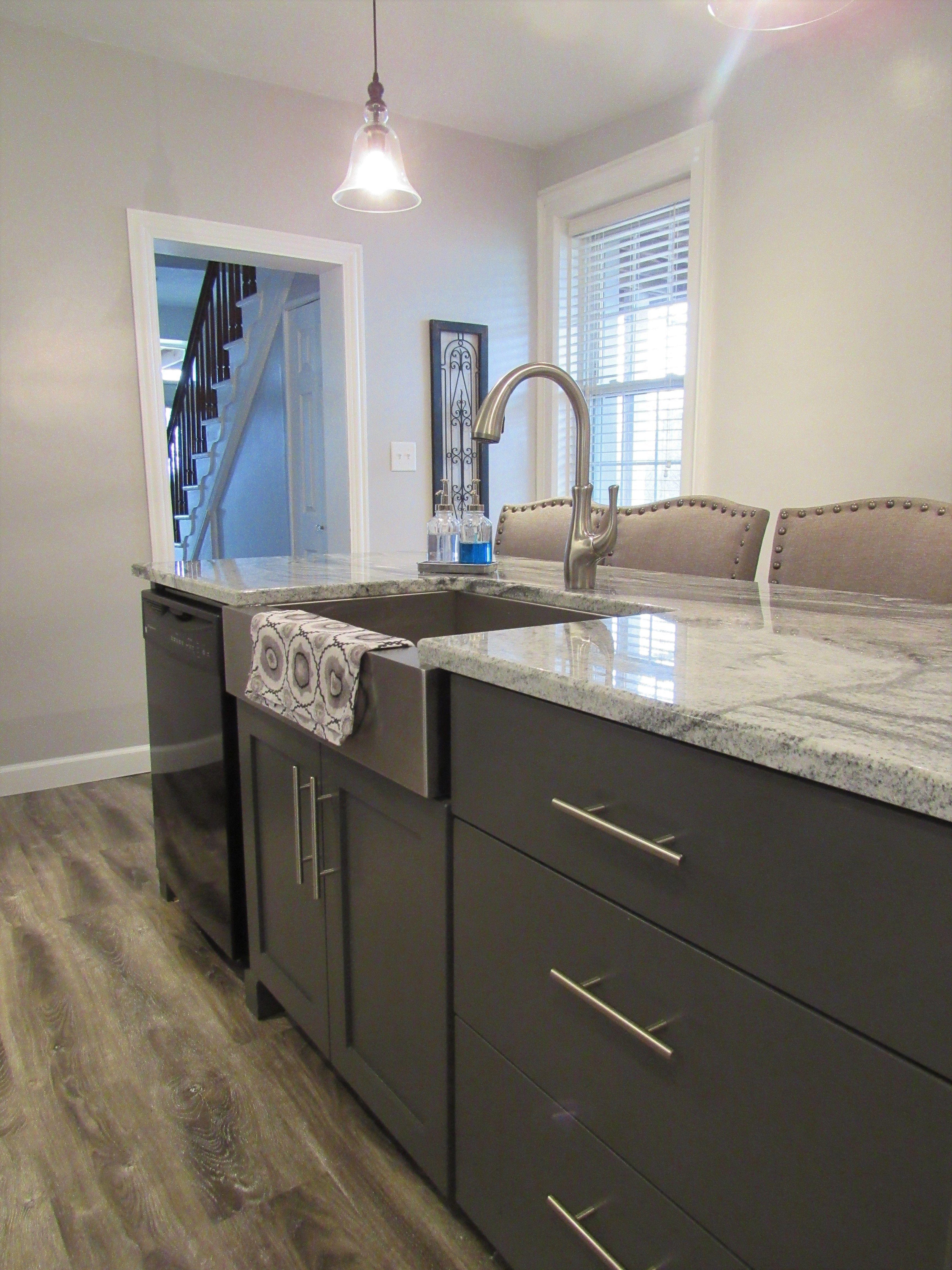 modern farmhouse kitchen remodel white shaker cabinets gray island modern farmhouse on farmhouse kitchen gray id=56551