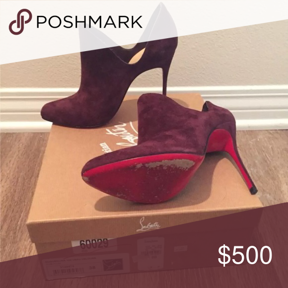 c364d4bdab2 Authentic Christian Louboutin Booties. Purple Suede Christian ...