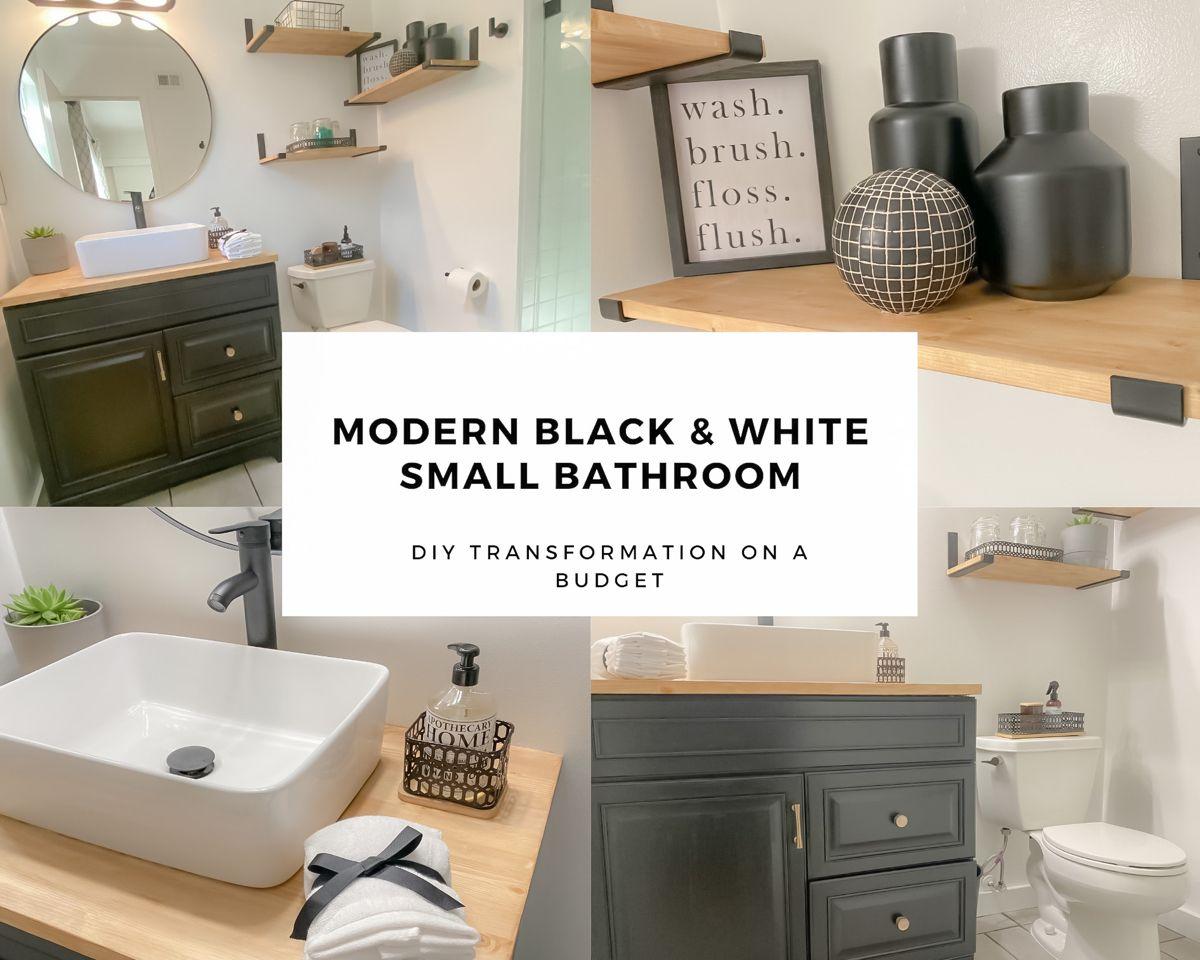 Extreme Bathroom Transformation Modern Bathroom Makeover Diy Bathroom Renovation Project Youtube In 2020 Small Bathroom Diy Diy Bathroom Makeover Diy Wood Shelves