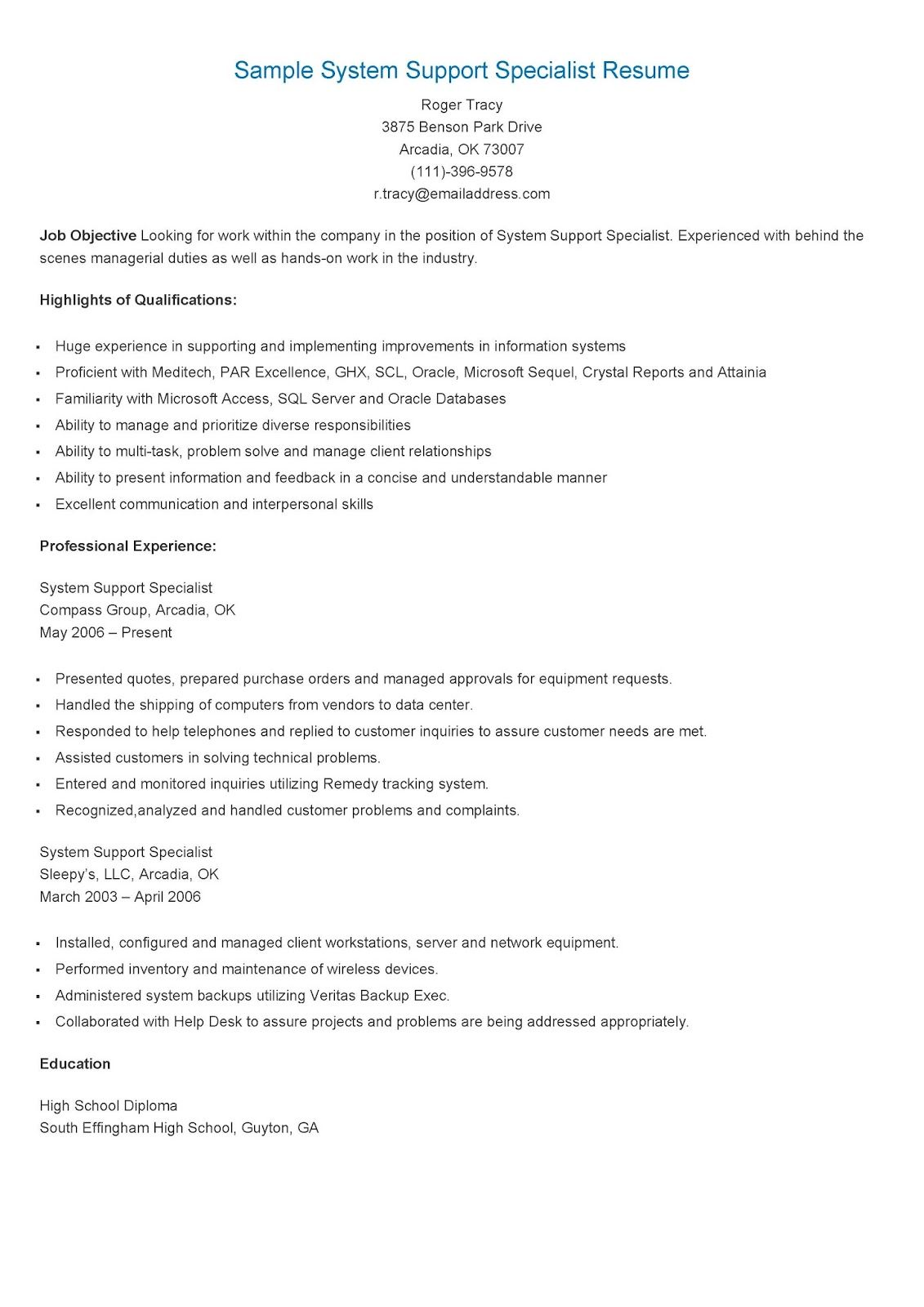 sample youth specialist resume